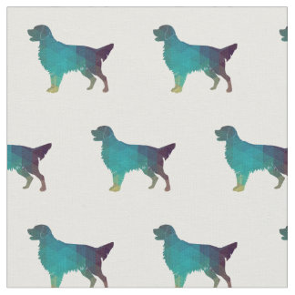 Flat-Coated Retriever Dog Silhouette Tiled -Green Fabric