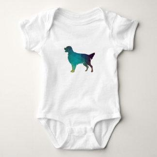Flat-coated Retriever Geometric Silhouette Green Baby Bodysuit