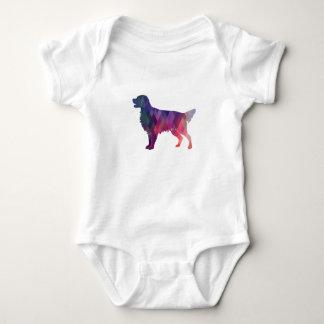 Flat-coated Retriever Geometric Silhouette -Pink Baby Bodysuit