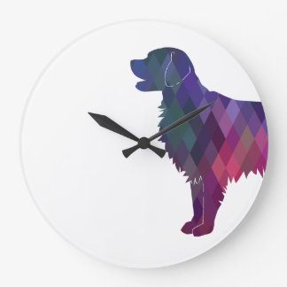 Flat-coated Retriever Geometric Silhouette -Pink Large Clock
