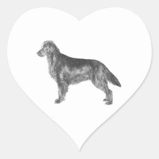 Flat Coated Retriever Heart Sticker