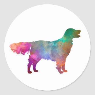 Flat Coated Retriever in watercolor Classic Round Sticker