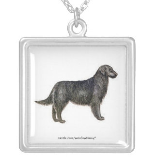 Flat-Coated Retriever Square Pendant Necklace