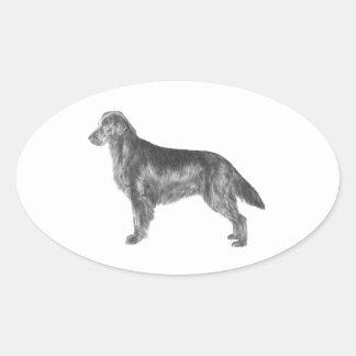 Flat Coated Retriever Oval Sticker