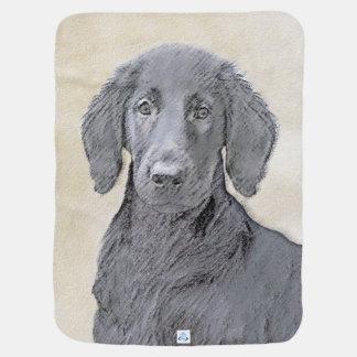 Flat-Coated Retriever Painting - Cute Original Dog Baby Blanket