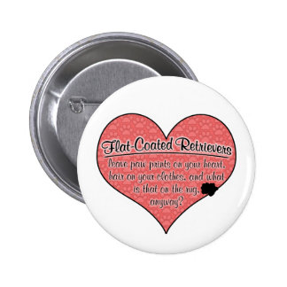 Flat-Coated Retriever Paw Prints Dog Humor Pinback Buttons