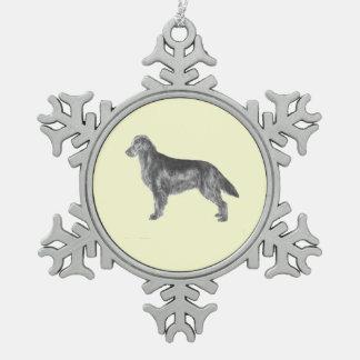 Flat Coated Retriever Pewter Snowflake Decoration