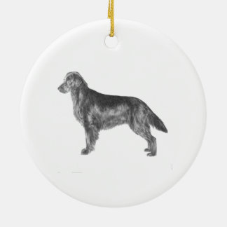 Flat Coated Retriever Round Ceramic Decoration