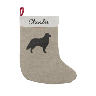 Flat Coated Retriever Silhouette with Text Small Christmas Stocking