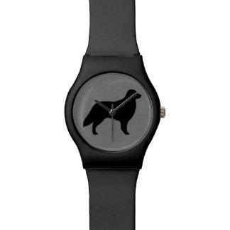 Flat Coated Retriever Silhouette Wrist Watch