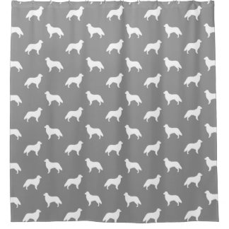 Flat Coated Retriever Silhouettes Pattern Grey Shower Curtain