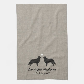 Flat Coated Retriever Silhouettes with Heart Tea Towel