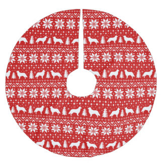 Flat Coated Retrievers Christmas Sweater Pattern Brushed Polyester Tree Skirt