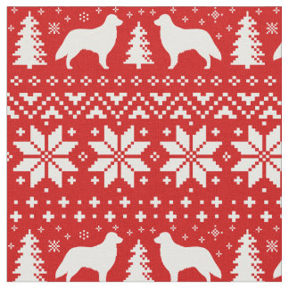 Flat Coated Retrievers Christmas Sweater Pattern Fabric