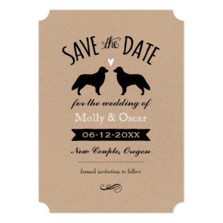 Flat Coated Retrievers Wedding Save the Date Card