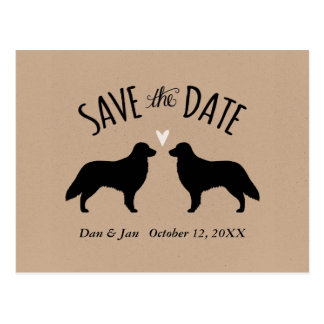 Flat Coated Retrievers Wedding Save the Date Postcard