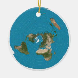 Flat Earth AE Azimuthal Equidistant Map Ornament