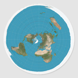 Flat Earth Azimuthal Equidistant Map Stickers