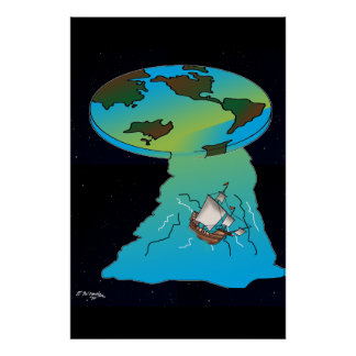 Flat Earth Cartoon 7540 Poster