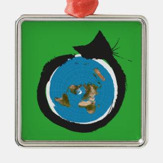 Flat Earth Designs - CAT MAP CLASSIC Metal Ornament
