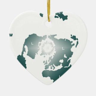 Flat Earth Map, Azimuthal Equidistant Map Zetetic Ceramic Ornament