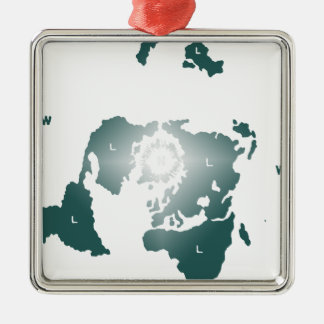 Flat Earth Map, Azimuthal Equidistant Map Zetetic Metal Ornament