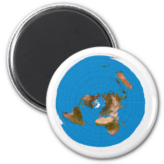 Flat Earth Map - Azimuthal Equidistant Projection 6 Cm Round Magnet