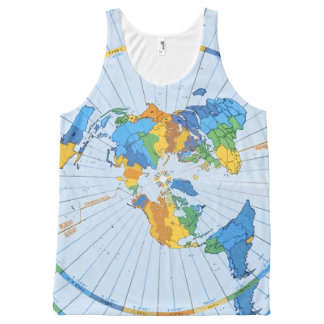 Flat Earth Map - Azimuthal Equidistant Projection All-Over Print Singlet