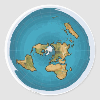 Flat Earth Map Classic Round Sticker
