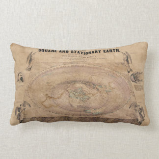 Flat Earth Map of the Square and Stationary Earth Lumbar Cushion