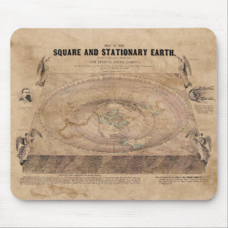 Flat Earth Map of the Square and Stationary Earth Mouse Pad