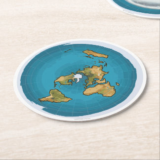 Flat Earth Map Round Paper Coaster