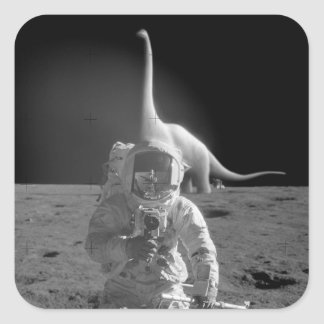 Flat Earth Stickers: Dinosaurs on the Moon Square Sticker