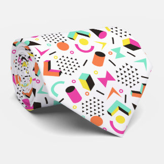 Flat Geometric Squiggly Memphis bold pattern 1980s Tie