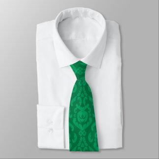 Flat Green Damask Pattern Tie