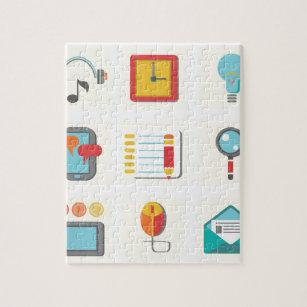 flat icons jigsaw puzzle