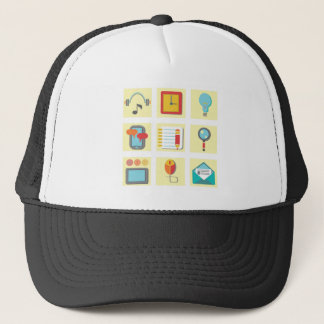 flat icons trucker hat