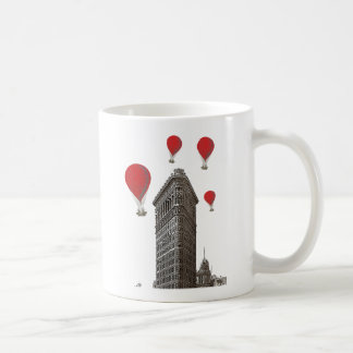 Flat Iron Building and Red Hot Air Balloons Basic White Mug