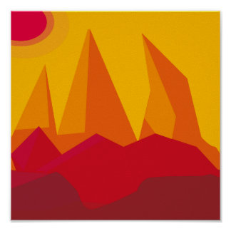 flat landscape mountains red poster