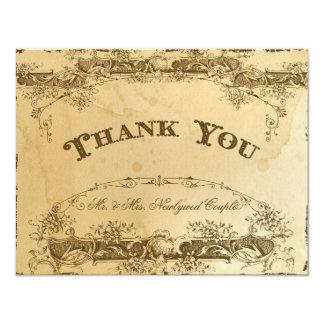 Flat Panel Thank You Stationery Tea Stain Vintage 11 Cm X 14 Cm Invitation Card