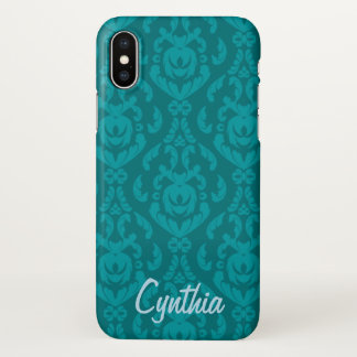Flat Teal Damask Name Template iPhone X Case