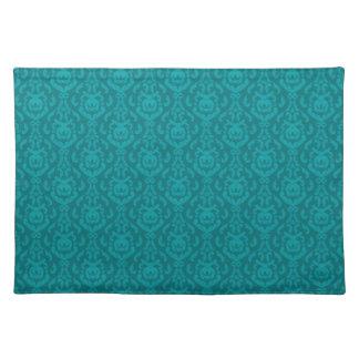 Flat Teal Damask Pattern Place Mat