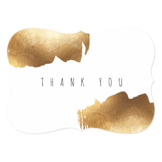 FLAT THANK YOU CARD | Gold Brush Minimalist
