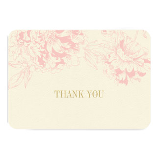 Flat Thank You Cards | Pink Floral Peony Design Invite