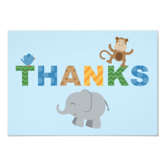Flat Thank You Note Cards | Jungle Animals 9 Cm X 13 Cm Invitation Card