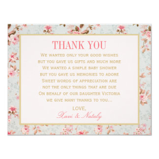 Flat Thank You Notes  | Vintage Garden Party 11 Cm X 14 Cm Invitation Card