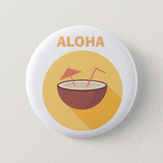 Flat Vector Coconut 6 Cm Round Badge