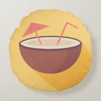 Flat Vector Coconut Round Cushion