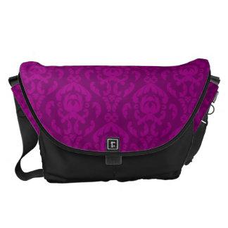 Flat Violet Damask Pattern Courier Bags