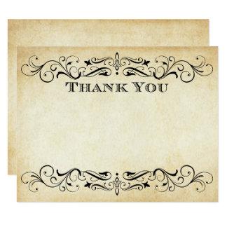 Flat Wedding Thank You Cards   Vintage Flourish 11 Cm X 14 Cm Invitation Card